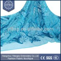 Quality Factory price wholesale nigeria fashion lace material teal color french lace with sequins wholesale