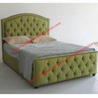 Quality Water green fabric bed by upholstery pad headboard in button and antique nail for Apartment Bedroom suite wholesale