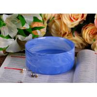 Quality Blue Marble Round Shape Ceramic Candle Holder with Different Color Effects wholesale