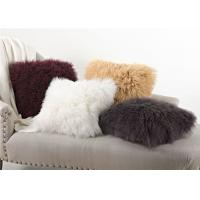 Quality Warm Real Fur Pillow Covers , Customized Decorative Mongolian Fluffy Cushions  wholesale