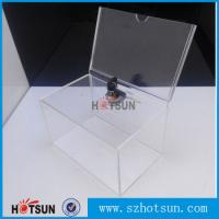 Quality Custom box Plexiglass acrylic donation/tips/sugguestion box with sign holder wholesale