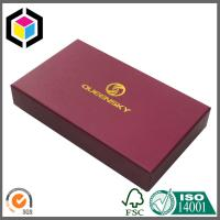 Quality Matte Red Color Paper Gift Box for Wallet; Gold Foil Logo Rigid Paper Box wholesale