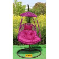 Buy cheap Rose red color rattan hang chair with ceiling and stand product