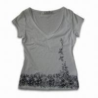 Quality Ladies' T-shirt, Made of 100% Cotton Jersey, Perfect Workmanship, Customized Designs are Accepted wholesale