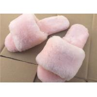 China Pink / Gray Ladies Open Toe Sheepskin Slippers With Soft Rubber Sole on sale