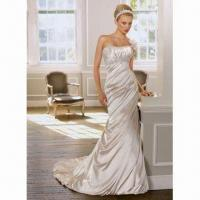 Quality Wedding Dress, Available with Satin and Chiffon, ODM Orders are Welcome wholesale