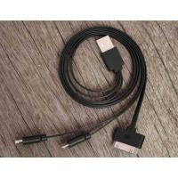 Quality Black Data Flat Micro USB Charger Cable 3 in 1 20cm - 50cm for iPhone wholesale