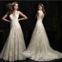 Quality Sexy Deep V neck lace flower Wedding Dresses with open back for womens wholesale