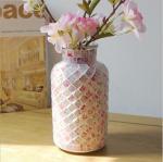 Quality Pastoral style pink mosaic glass bottle home decoration vase wholesale