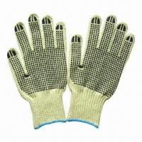 Quality Kevlar String Knitted Gloves with PVC Dots on Both Sides, Used in Industry and Construction wholesale