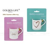Quality 90ml  new bone china Cappuccino Espresso Cups with love heart design ,real gold design. wholesale
