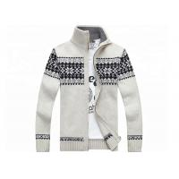 Quality Autumn Stand Collar Long Sleeve  Zip With Knitted Jacquard Cardigan Mens Sweater wholesale