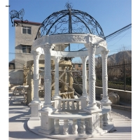 China Marble Gazebo White Garden Stone Roman Relief Columns Hand Carved With Iron Dorm on sale
