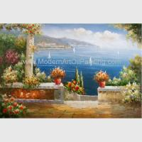 Quality Mediterranean Garden Wall Art Sea Landscape Oil Painting Vacation Harbor wholesale