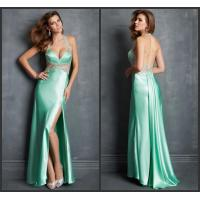 Quality Green Halter Satin Womens Evening Dresses / Sleeveless Open Front Dress wholesale