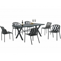 Quality Terrace W1400mm D800mm Table Rattan Garden Dining Set Hand Make Weaving wholesale