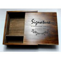 Quality Wedding Gift Slide Top Wooden Box , Pine Square Wooden Box With Lid wholesale