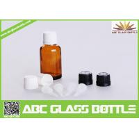 Quality 15ml Amber Glass Dropper Bottles With White Tamper Evident Cap wholesale