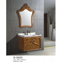 Quality Solid Oak Wood Bathroom Vanity Cabinets With Tops Single Sink Soft Close Drawers wholesale