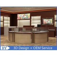 Quality Custom High - End Stainless Steel Veneer Jewelry Store Fixtures Brown Color wholesale