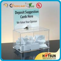 Quality Waterproof Lockable Acrylic Donation / Suggestion Boxes with Card Holders wholesale