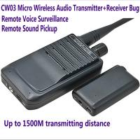 Cheap CW03 Micro Wireless Audio Transmitter+Receiver Listening Bug 500M Remote Sound Monitor for sale