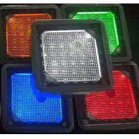 Quality 4x4'' square white blue green yellow red Solar landscaping paver brick lights stainless steel pathway lights wholesale