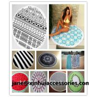 Quality Luxury velour round beach towel with tassels customize design reactive print small MOQ wholesale