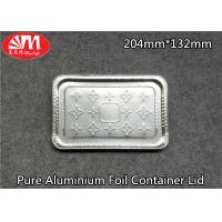 China Pure Aluminium Foil Tray Lids Rectangle Shape 204mm×132mm Size For Foods Packing on sale