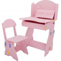 Quality 18.3KG Pink Solid Wooden Children'S Desk And Chair Set With Hidden Drawer wholesale