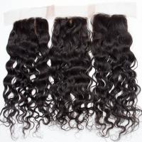 Quality Human Hair Swiss Lace Closure Malaysian Hair Extensions 4 X 4 Water Wave wholesale