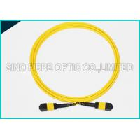 Quality 3.0mm Low Insertion 24x Lanes MTP Female Fiber Optic OS2 Singlemode Trunk Yellow Cable wholesale