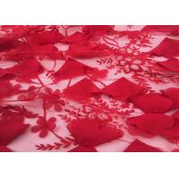 "Quality Red Embroidery Wedding Lace Fabric 3d Flower 50-51"" Width For Home Textile wholesale"
