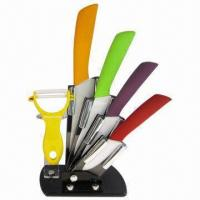 Quality 6 Pieces Ceramic Knife Set with ABS Plastic and TPR Coated, OEM Order Welcomed wholesale
