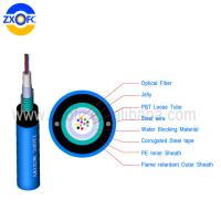 Cheap 12 24 Core Mine Outdoor Fiber Optic Cable Central Loose Tube MGXTWV By 25 Years for sale