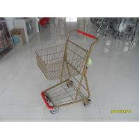 Quality Supermarket 40 L Singel Basket Metal Shopping Cart With Wheels And Front Bumper wholesale