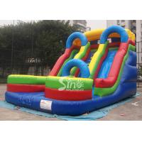 Quality 5mts high big double lane inflatable slide with arch made of 0.55mm pvc tarpaulin wholesale