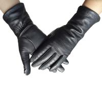Quality Real Sheepskin Womens Soft Leather Gloves Fashion Plain Style Black Color wholesale