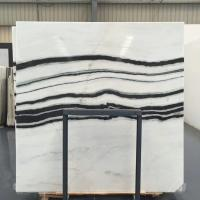 Quality Panda White Natural Marble Tile For Flooring Layout , Book Matched Marble Stone Tile wholesale