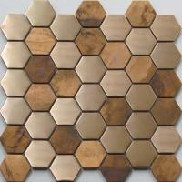Quality Metallic Copper Mosaic Tile Backsplash , Hexagon Stainless Steel Subway Tile wholesale