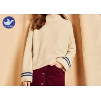 Quality Big Fold Cuff Mock Neck Womens Knit Pullover Sweater Loose Fitting Winter Top wholesale