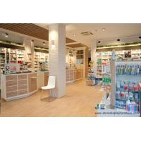 Quality Pharmacy interior space design Light color wood cabinet with storage drawers and Display stand by hook wholesale