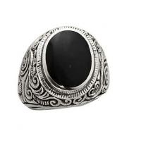 China Black Onyx Men Fashion Jewelry Rings 925 Sterling Silver 18 k Gold Plated on sale