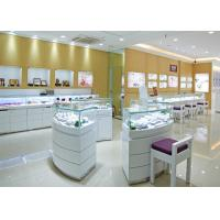 Quality Retail Shop Lighted Commercial Jewelry Wall Display Case High Glossy White Color wholesale