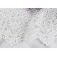 Quality Dubai White Bridal Embroidered Mesh Fabric By The Yard Water Soluble With Scalloped Edge wholesale