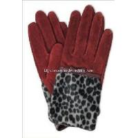 Quality Ladies Fashion Pig Suede Leather Gloves with Leopard Print (CF2024) wholesale