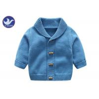 China Soft Shawl Collar Kids Knitted Cardigan , Boys Blue Cardigan Sweater Fake Horn Wood Button on sale