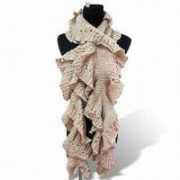 Quality Knitted Scarf with Fancy Open Knit and Ruffled Edge, Made of 100% Acrylic wholesale