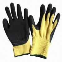 Quality Kevlar Gloves, 10G Knitted Seamless Kevlar Liner with Latex Coated one the Palm and Top of Finger wholesale