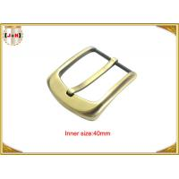 Quality 40mm Gold Custom Zinc Alloy Metal Pin Belt Buckle / Coat Belt Buckle Replacement wholesale